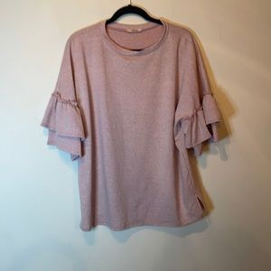 First Love Boutique Pink Ruffle Sleeve Blouse